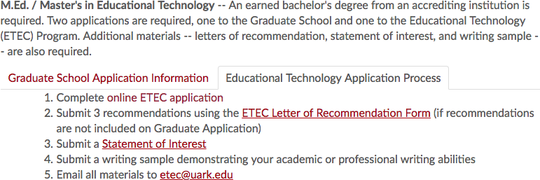 Program specific directions for how to apply for the M.Ed. in Educational Technology