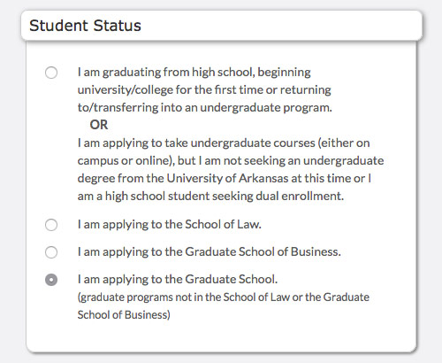 I am applying to the Graduate School