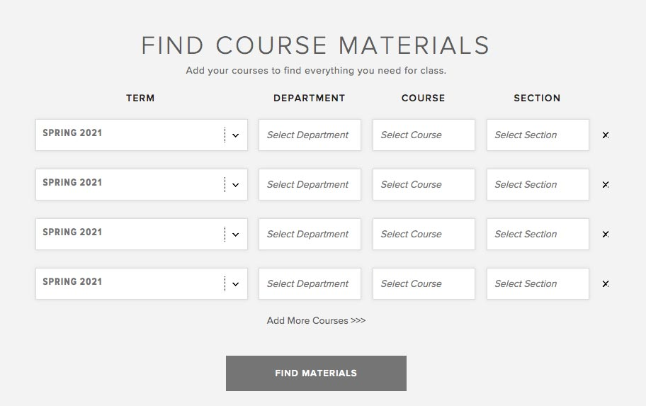 Bookstore - Find Course Materials
