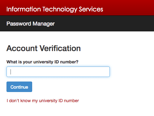 Account Verification form